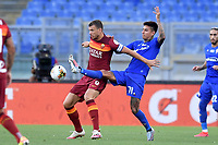 Edin Dzeko of AS Roma and Erick Pulgar of ACF Fiorentina compete for the ball during the Serie A football match between AS Roma and ACF Fiorentina at stadio Olimpico in Roma (Italy), July 26th, 2020. Play resumes behind closed doors following the outbreak of the coronavirus disease. <br /> Photo Antonietta Baldassarre / Insidefoto