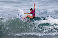 Huntington Beach, CA - Saturday August 4, 2018: Johanne Defay in action during a World Surf League (WSL) World Championship Tour (WCT) Round 3 heat at the 2018 Vans U.S. Open of Surfing on South side of the Huntington Beach pier.