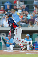 Potomac Nationals shortstop Luis Garcia (16) at bat during a game against the Myrtle Beach Pelicans at Ticketreturn.com Field at Pelicans Ballpark on July 19, 2018 in Myrtle Beach, South Carolina. Potomac defeated Myrtle Beach 6-3. (Robert Gurganus/Four Seam Images)
