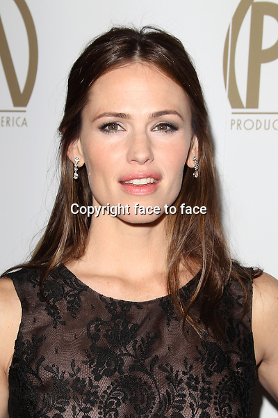 BEVERLY HILLS, CA - JANUARY 26: Jennifer Garner (wearing an Oscar de la Renta sleeveless sheer black embroidered lace over a nude underlay dress) at the 24th Annual Producers Guild of America Awards at The Beverly Hilton Hotel in Beverly Hills, California...Credit: MediaPunch/face to face..- Germany, Austria, Switzerland, Eastern Europe, Australia, UK, USA, Taiwan, Singapore, China, Malaysia and Thailand rights only -