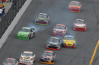 Feb 15, 2007; Daytona, FL, USA; Nascar Nextel Cup Series driver Jeremy Mayfield (36) hits the wall during race one of the Gatorade Duel at Daytona International Speedway. Mandatory Credit: Mark J. Rebilas