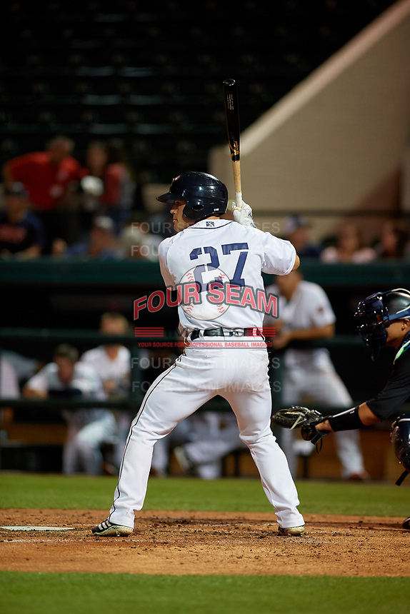 Lakeland Flying Tigers left fielder Brady Policelli (27) at bat during a Florida State League game against the Tampa Tarpons on April 5, 2019 at Publix Field at Joker Marchant Stadium in Lakeland, Florida.  Lakeland defeated Tampa 5-3.  (Mike Janes/Four Seam Images)