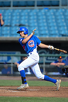 First baseman Evan White (40) of Gahanna Lincoln High School in Gahanna, Ohio playing for the Chicago Cubs scout team during the East Coast Pro Showcase on August 2, 2013 at NBT Bank Stadium in Syracuse, New York.  (Mike Janes/Four Seam Images)