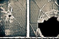 Broken window in Seattle, Washington