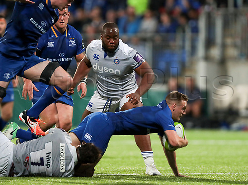 25th August 2017, Donnybrook Stadium, Dublin, Ireland; Pre Season Rugby Friendly; Leinster Rugby versus Bath Rugby; Nick McCarthy (Leinster) is taken to ground