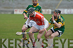 Kerry's John Egan and Armagh's Cahill Carvill.