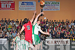 Kieran Donaghy St Brendan's and John Galvin St Mary's jumps for the tip off of the Senior Mens final at St Mary's Basketball blitz in Castleisland on Thursday
