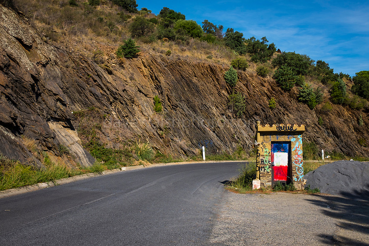 France-Spain border on the Mediterranean coast, Pyrenees Orientale, France