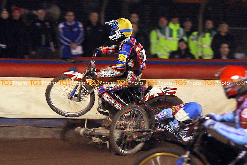 Heat 8: Stuart Robson (blue) crashes out with Rene Bach (yellow) - Lakeside Hammers vs Peterborough Panthers - Sky Sports Elite League Speedway at Arena Essex Raceway, Thurrock - 03/04/09 - MANDATORY CREDIT: Gavin Ellis/TGSPHOTO - Self billing applies where appropriate - 0845 094 6026 - contact@tgsphoto.co.uk - NO UNPAID USE.