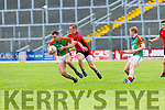 Ronan Murphy Mid Kerry is tackled by Stephen O'Brien Mid Kerry during their SFC quarter final in Fitzgerald Stadium on Sunday