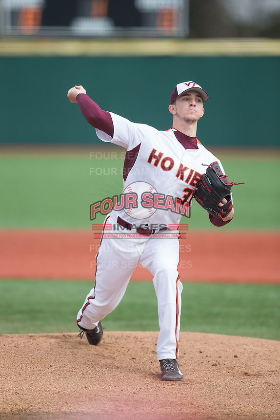 Virginia Tech Hokies starting pitcher Aaron McGarity (31) in action against the Toledo Rockets at The Ripken Experience on February 28, 2015 in Myrtle Beach, South Carolina.  The Hokies defeated the Rockets 1-0 in 10 innings.  (Brian Westerholt/Four Seam Images)