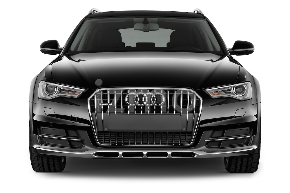 Car photography straight front view of a 2015 Audi A6 Allroad Quattro - 5 Door Wagon Front View