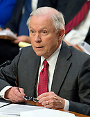 """United States Attorney General Jeff Sessions gives testimony before the US Senate Select Committee on Intelligence to  """"examine certain intelligence matters relating to the 2016 United States election"""" on Capitol Hill in Washington, DC on Tuesday, June 13, 2017.  In his prepared statement Attorney General Sessions said it was an """"appalling and detestable lie"""" to accuse him of colluding with the Russians.<br /> Credit: Ron Sachs / CNP<br /> (RESTRICTION: NO New York or New Jersey Newspapers or newspapers within a 75 mile radius of New York City)"""