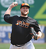 Matt Larkins #44, Long Island Ducks pitcher, throws during a team workout at Bethpage Ballpark in Central Islip, NY on Friday, April 14, 2017.
