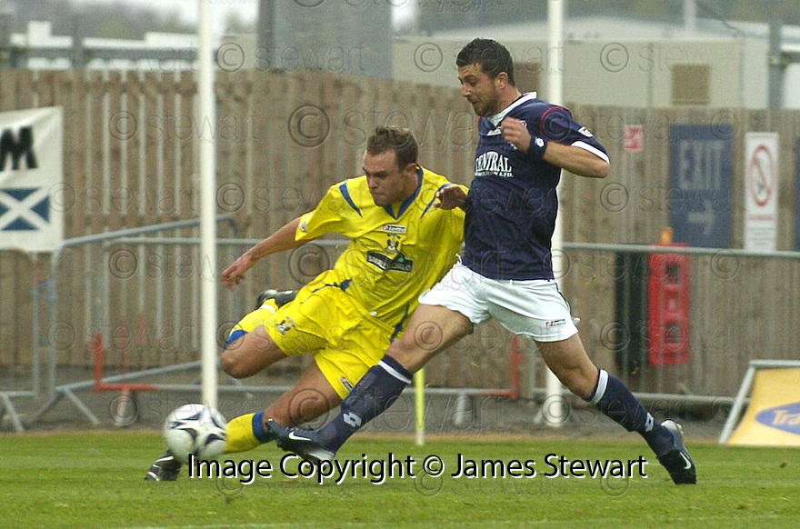 20/10/2007       Copyright Pic: James Stewart.File Name : sct_jspa15_falkirk_v_kilmarnock.PEDRO MOUTINHO SHOOTS AT GOAL AS WILLIAM GIBSON CHALLENGES....James Stewart Photo Agency 19 Carronlea Drive, Falkirk. FK2 8DN      Vat Reg No. 607 6932 25.Office     : +44 (0)1324 570906     .Mobile   : +44 (0)7721 416997.Fax         : +44 (0)1324 570906.E-mail  :  jim@jspa.co.uk.If you require further information then contact Jim Stewart on any of the numbers above........