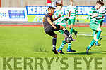 Killarney Celtic's Terry Sparling in action against Park FC's Padraig McCannon in the Youths Cup Final.