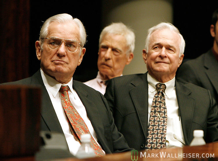 Former Florida Governor John Wayne Mixson, left,  former Speaker of the Florida House of Represenatives and President of the Florida Senate Mallory Horne, center, and Former Speaker of the Florida House of Represenatives and Florida Commissioner of Agriculture Doyle Conner Sr  listen to former Florida Governor Reubin Askew speak in the Florida Senate chamber during a memorial service for former Lt. Governor Tom Adams May 30, 1996.  Adams was killed in a car accident.