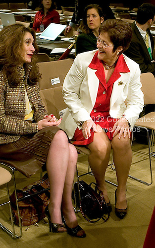 Washington, D.C. - January 12, 2006 -- Martha-Ann Bomgardner, wife of Judge Samuel A. Alito, right, shares some thoughts with Rosemary Alito, sister of the nominee, left, prior to the fourth day of her husband's testimony before the United States Senate Judiciary Committee on his nomination to be Associate Justice of the United States Supreme Court in Washington, D.C. on January 12, 2006..Credit: Ron Sachs / CNP
