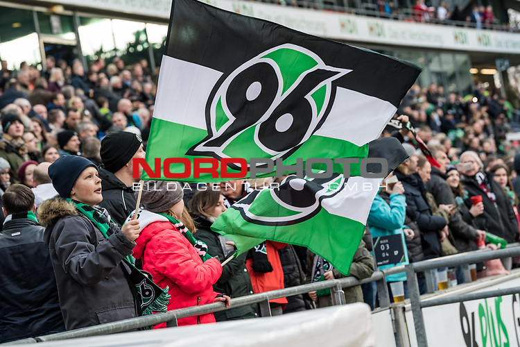 09.02.2019, HDI Arena, Hannover, GER, 1.FBL, Hannover 96 vs 1. FC Nuernberg<br /> <br /> DFL REGULATIONS PROHIBIT ANY USE OF PHOTOGRAPHS AS IMAGE SEQUENCES AND/OR QUASI-VIDEO.<br /> <br /> im Bild / picture shows<br /> Hannover 96 Fan schwenkt Fahne, <br /> <br /> Foto &copy; nordphoto / Ewert