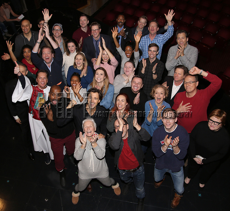 Director Lonny Price, Michael Xavier, Glenn Close, Siobhan Dillon, Fred Johanson and cast attend the Actors' Equity Opening Night Gypsy Robe Ceremony for 'Sunset Boulevard'  honoring Matt Wall at the Palace Theatre Theatre on February 9, 2017 in New York City.