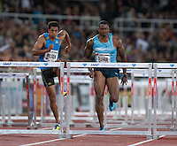 OLIVER David (USA) closing in on the last hurdle at the IAAF Diamond League meeting in Stockholm. He took first place.