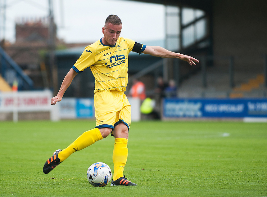 Torquay United's Luke Young in action during todays match  <br /> <br /> Photographer Kevin Barnes/CameraSport<br /> <br /> Football - Pre Season Friendly - Torquay United v Newport County AFC - Saturday 18th July 2015 - Plainmoor - Torquay<br /> <br /> &copy; CameraSport - 43 Linden Ave. Countesthorpe. Leicester. England. LE8 5PG - Tel: +44 (0) 116 277 4147 - admin@camerasport.com - www.camerasport.com