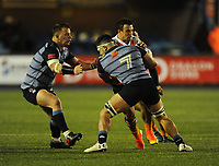 Toyota Cheetahs&rsquo; Nico Lee is tackled by Cardiff Blues&rsquo; Ellis Jenkins<br /> <br /> Photographer Kevin Barnes/CameraSport<br /> <br /> Guinness Pro14  Round 14 - Cardiff Blues v Toyota Cheetahs - Saturday 10th February 2018 - Cardiff Arms Park - Cardiff<br /> <br /> World Copyright &copy; 2018 CameraSport. All rights reserved. 43 Linden Ave. Countesthorpe. Leicester. England. LE8 5PG - Tel: +44 (0) 116 277 4147 - admin@camerasport.com - www.camerasport.com