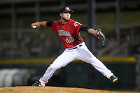 Hickory Crawdads relief pitcher Scott Williams (20) in action against the Charleston RiverDogs at L.P. Frans Stadium on August 25, 2015 in Hickory, North Carolina.  The Crawdads defeated the RiverDogs 7-4.  (Brian Westerholt/Four Seam Images)