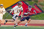 Mission Viejo, CA 05/11/11 - Matt Browne (Foothill-Santa Ana #17) and Matt Duenes (St Margaret #4) in action during the St Margaret-Foothill boys varsity lacrosse game at Mission Viejo High School for the 2011 CIF Southern Section South Division Championship.  Foothill defeated St Margaret 15-10.