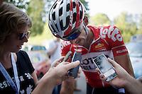 Jelle Vanendert (BEL/Lotto-Belisol) interviewed after the finish<br /> <br /> Grand Prix de Wallonie 2014