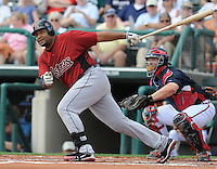 15 March 2009: Carlos Lee of the Houston Astros hits during a game against the Atlanta Braves at the Braves' Spring Training camp at Disney's Wide World of Sports in Lake Buena Vista, Fla. Photo by:  Tom Priddy/Four Seam Images