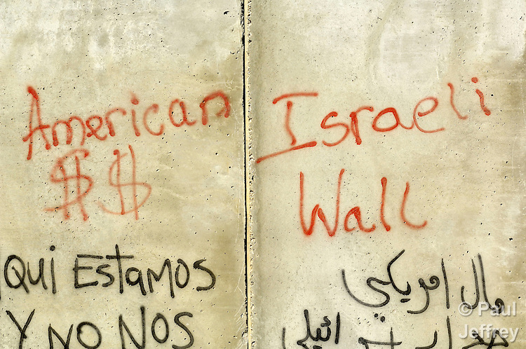 Graffiti on the Israeli separation barrier which has sealed off Bethlehem from nearby Jerusalem.