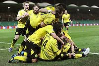 FUSSBALL   DFB POKAL   SAISON 2011/2012   HALBFINALE SpVgg Greuther Fuerth - Borussia Dortmund                  20.03.2012 Jubel nach dem Tor zum 0:1, Kevin Grosskreutz, Neven Subotic, Ivan Perisic , Ilkay Guendogan (v. li., Borussia Dortmund)