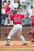 Tanner English (23) of the Elizabethton Twins at bat against the Johnson City Cardinals at Cardinal Park on July 27, 2014 in Johnson City, Tennessee.  The game was suspended in the top of the 5th inning with the Twins leading the Cardinals 7-6.  (Brian Westerholt/Four Seam Images)