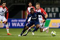 EMMEN - Voetbal, FC Emmen - Jong Ajax, Jens Vesting, Jupiler League, seizoen 2017-2018, 15-12-2017,  Jong Ajax speler Azor Matusiwa met FC Emmen speler Alexander Bannink