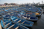 Blue fishing boats in harbour, Essaouira, Morocco