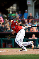 Erie SeaWolves catcher Grayson Greiner (21) hits a single during a game against the Akron RubberDucks on August 27, 2017 at UPMC Park in Erie, Pennsylvania.  Akron defeated Erie 6-4.  (Mike Janes/Four Seam Images)