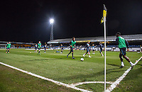 General view as Wycombe warm up during the Sky Bet League 2 match between Cambridge United and Wycombe Wanderers at the R Costings Abbey Stadium, Cambridge, England on 1 March 2016. Photo by Andy Rowland / PRiME Media Images.