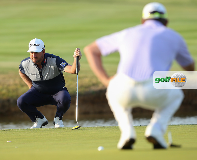 Graeme McDowell (NIR) makes par on the last for a round of 72 during (recommenced) Round One of the 2015 Alstom Open de France, played at Le Golf National, Saint-Quentin-En-Yvelines, Paris, France. /03/07/2015/. Picture: Golffile | David Lloyd<br /> <br /> All photos usage must carry mandatory copyright credit (&copy; Golffile | David Lloyd)