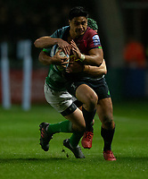 Harlequins' Ben Tapuai is tackled by Newcastle Falcons' Pedro Bettencourt<br /> <br /> Photographer Bob Bradford/CameraSport<br /> <br /> Gallagher Premiership Round 7 - Harlequins v Newcastle Falcons - Friday 16th November 2018 - Twickenham Stoop - London<br /> <br /> World Copyright © 2018 CameraSport. All rights reserved. 43 Linden Ave. Countesthorpe. Leicester. England. LE8 5PG - Tel: +44 (0) 116 277 4147 - admin@camerasport.com - www.camerasport.com