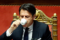Giuseppe Conte drinking a coffee<br /> Rome March 19th 2019. Senate. Speech of the Italian Premier about the next European Council and about the economic agreements italy/China.<br /> Foto Samantha Zucchi Insidefoto