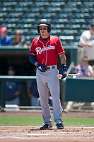 Tacoma Rainiers center fielder Ian Miller (7) at bat during a Pacific Coast League against the Sacramento RiverCats at Raley Field on May 15, 2018 in Sacramento, California. Tacoma defeated Sacramento 8-5. (Zachary Lucy/Four Seam Images)
