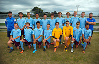 The Southern team poses for a group photo after the New Zealand Age Group Championships Under-16 Boys match between Auckland (white tops) and Southern at Memorial Park in Petone, Wellington, New Zealand on Wednesday, 13 December 2017. Photo: Dave Lintott / lintottphoto.co.nz