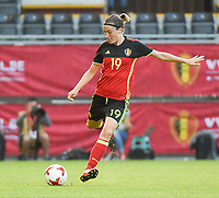 20170613 - LEUVEN ,  BELGIUM : Belgian Imke Courtois  pictured during the female soccer game between the Belgian Red Flames and Japan , a friendly game before the European Championship in The Netherlands 2017  , Tuesday 13 th Juin 2017 at Stadion Den Dreef  in Leuven , Belgium. PHOTO SPORTPIX.BE | DIRK VUYLSTEKE