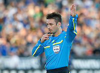 Referee Edvin Jurisevic in action during the game between Earthquakes and Sounders at Buck Shaw Stadium in Santa Clara, California on July 31st, 2010.   Seattle Sounders defeated San Jose Earthquakes, 1-0.