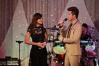 October 18 2012 - Montreal, Quebec , Canada - :  Cambodian celebrity singers Aok Sokunkanha (F) and Alex Chandra (M) sing  in Montreal Canada.