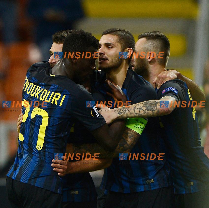 Esultanza gol di Antonio Candreva Inter 1-0. Celebration goal<br /> Milano 20-10-2016 Stadio Giuseppe Meazza - Football Calcio Europa League Inter - Southampton. Foto Giuseppe Celeste / Insidefoto