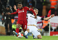 24th February 2020; Anfield, Liverpool, Merseyside, England; English Premier League Football, Liverpool versus West Ham United; Georginio Wijnaldum of Liverpool  is tackled by Tomas Soucek of West Ham United