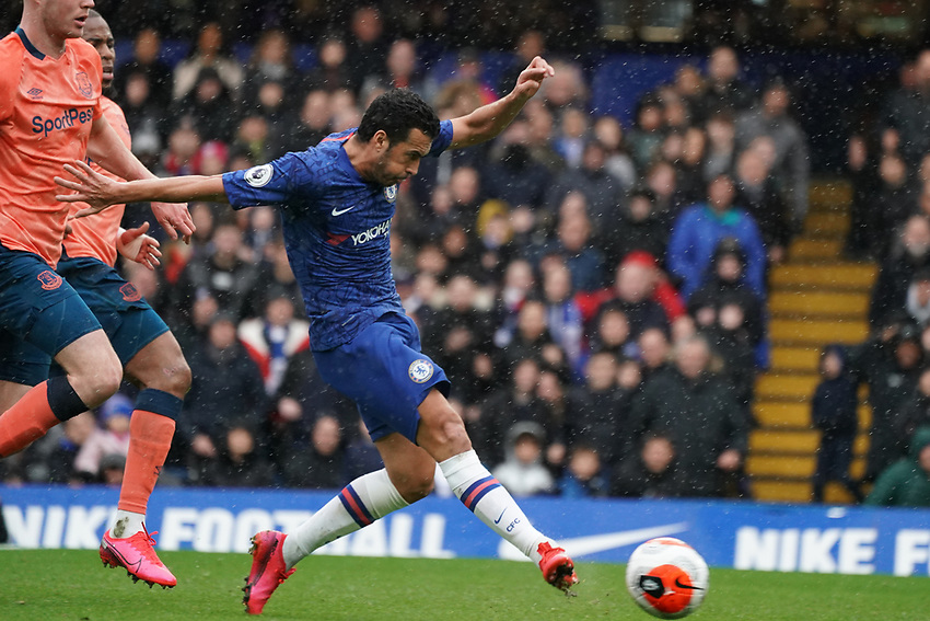 Chelsea's Pedro scores his side's second goal <br /> <br /> Photographer Stephanie Meek/CameraSport<br /> <br /> The Premier League - Chelsea v Everton - Sunday 8th March 2020 - Stamford Bridge - London<br /> <br /> World Copyright © 2020 CameraSport. All rights reserved. 43 Linden Ave. Countesthorpe. Leicester. England. LE8 5PG - Tel: +44 (0) 116 277 4147 - admin@camerasport.com - www.camerasport.com