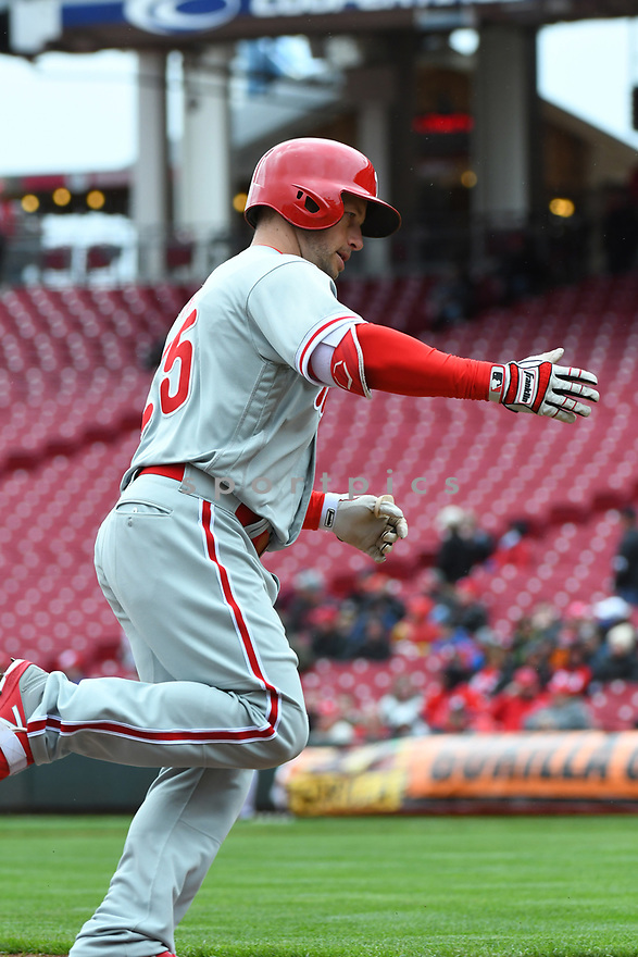 Philadelphia Phillies Daniel Nava (25) during a game against the Cincinnati Reds on April 6, 2017 at Great American Ballpark in Cincinnati, OH. The Reds beat the Phillies 4-7.